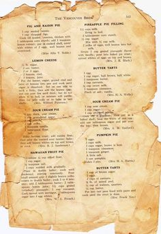 The Happy List: Vintage Recipes, Charleston Paintings, and more! - PiesThe Happy List: Vintage Recipes, Charleston Paintings, and more! Retro Recipes, Old Recipes, Vintage Recipes, Cookbook Recipes, Baking Recipes, Tart Recipes, Cookie Recipes, Healthy Recipes, Cake Recipes