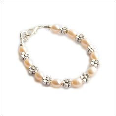 New Style Ivory Peach Freshwater Pearls Flower Silver Metal Beads Baby Girl Child Wire & Clasp Bracelet with Growth Chain