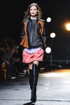 Phillip Lim 3.1 Fall 13. Almost innocent classic boyish outfit under badass leather boots and jacket. LOVE.