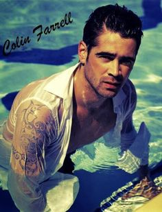 Colin Farrell the wet look looks good