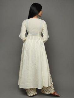 Off White Golden Angrakha Cotton Anarkali Suit - Set of 3 Cotton Anarkali, Anarkali Dress, Anarkali Suits, Salwar Pants, Salwar Kurta, Lehenga, Indian Designer Outfits, Designer Dresses, Indian Dresses