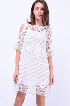 Two Piece Cut-Out Shoulder Crochet Dress (White) S$ 56.00