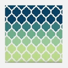 Blue Green Moroccan Lattice Tile Coaster For