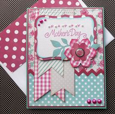 Hand-Made Stamped Mother's Day Greeting Card with Matching Embellished Envelope - Posies