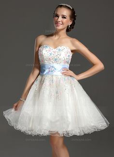 A-Line/Princess Sweetheart Knee-Length Tulle Charmeuse Homecoming Dress With Beading Sequins (022020991)