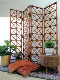 Vintage Bamboo Room Divider  Four Panel Folding by SoulfulVintage