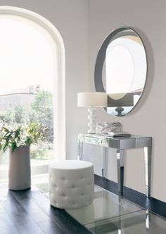 Furniture and Accessories. Opera Design Unique Contemporary Dressing Table with Mirrored Drawer and Legs Completed with Huge Round Wall Mirror and White Tufted Chair. Best Dressing Table and Vanity in Various Design Styles Contemporary Dressing Tables, Mirrored Furniture, Mirrored Vanity, Mirrored Table, Design Case, Diy Design, Design Ideas, Beauty Room, Style At Home
