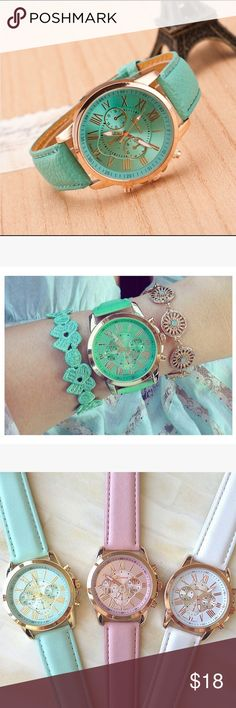 ✨Beautiful Teal/turquoise rose gold wrist watch!✨ A watch for all occasions💕 Perfect gift. Chic watch that compliments all accessories✨ -Analog quartz        -Synthetic leather band. Various colors available! 🎨 Accessories Watches