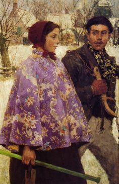 """The Skaters,"" Gari Melchers, ca. 1880-1884, oil on canvas, 44.5 x 27.5"", Pennsylvania Academy of the Fine Arts."