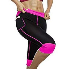 a8eee9ccb6 Womens Weight Loss Hot Neoprene Sauna Sweat Pants with Side Pocket Workout  Thighs Slimming Capris Leggings
