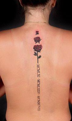 spine rose tattoo © tattoo artist Eric Bovay 💟🌹💟🌹💟🌹💟🌹💟