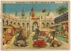 78.2766: Decoraciones De Teatro Zoco O Mercado De Moros | theater | Play Sets | Toys | Online Collections | The Strong Toy Theatre, Theater, Mini Craft, Toy Craft, Paper Toys, Paper Crafts, Online Collections, Paper Models, Vintage Paper