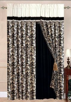 """New Micro Suede Tiger Skin Window Curtain Panel+Valance Set Black/Brown/Beige by AHF. $40.99. 2 Pcs Tieback. 2 Pcs Valance (Attached). Size: 60""""W x 84""""L and 18"""" Drop Valance (Total 120"""" Width). 2 Pcs Window Curtain. 2 Pcs Sheer Backing (Attached). BRAND NEW @ Tiger Skin Window Curtains Set. Style#: XEX-18 Condition: Brand New Size: 60""""W x 84""""L and 18"""" Drop Valance (Total 120"""" Width) Design: Tiger Skin Color: Black/Brown//Beige Material: Poly Micro Suede"""