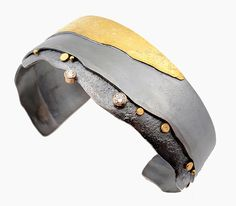 Add a sparkle of handmade jewelry to your everyday style. Shoreline Cuff by Sydney Lynch: Gold, Silver & Stone Bracelet available at www.artfulhome.com