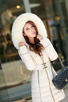 New Fashion Winter Women Down Cotton Long Fur Collar Hooded Coat Jacket Parka XL | eBay