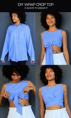 DIY Men's Shirt to Wrap Crop Top Tutorial and Pattern from The Felted Fox. This is an easy DIY if you sew. Note: The pattern is for size 2-4 but you can easily enlarge it. For a Roundup of 9 DIY Men's Shirt Restyles go here.