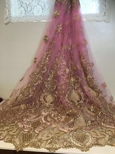 """ROSE PINK MESH GOLD METALLIC EMBROIDERY  LACE FABRIC 50"""" WIDE 1 YARD #sequinsembroiderylace"""
