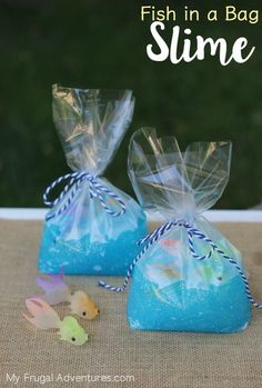 Pool Party : Fish in a Bag Favors : Ocean blue slime filled bag with cute little plastic fish : Sensory play for hours!