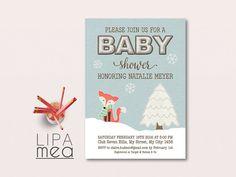 Winter Baby Shower Invitation Printable Christmas Baby by lipamea