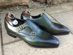Gaziano & Girling double monk with toe medallion.  Green is the new brown.