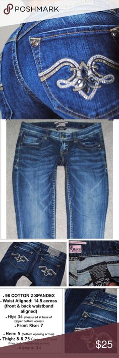 Express rerock Capri denim blue jeans 0 25 Missing 3 embellishments- no other flaws to note Express Jeans Ankle & Cropped