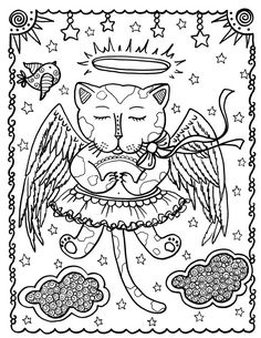 Fantasy Cats Instant Download 5 Coloring Pages by ChubbyMermaid Zentangle Coloring Book pages colouring adult detailed advanced printable Kleuren voor volwassenen coloriage pour adulte anti-stress kleurplaat voor volwassenen Line Art Black and White