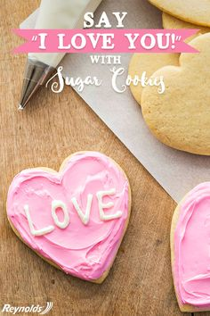 """Nothing says, """"I love you"""" quite like these adorable and delicious Valentine Conversation Heart Cookies. With a bake time of only 8 minutes, these cookies are perfect for those who want a simple and easy dessert. Make baking and cleanup a cinch with Reynolds Parchment Paper for a delicious dessert that bakes evenly without breaking. Make a treat filled with love today."""