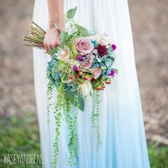 something blue dip dyed ombre silk tulle wedding dress / http://www.deerpearlflowers.com/etsy-finds-dip-dyed-ombre-wedding-dresses/2/