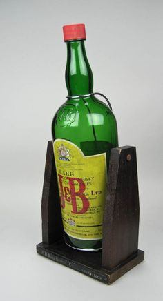 Collectible Barware Vintage J&B Scotch Gallon Bottle On A Wooden Swing Tilt Bottle Bar Decor Man Cave - pinned by pin4etsy.com