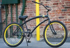 279.99 plus tax and shipping, or in-store pick-up. Skull X Bones Single Speed Matte Black with Yellow Rims. Aluminum Wheels, black finished forged cranks, cushy gel seat, and great colors. Call for more details (949) 675.5010