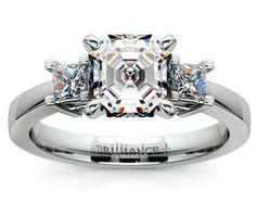 Asscher Princess Diamond Engagement Ring in White Gold  http://www.brilliance.com/engagement-rings/princess-diamond-ring-white-gold-1/3-ctw
