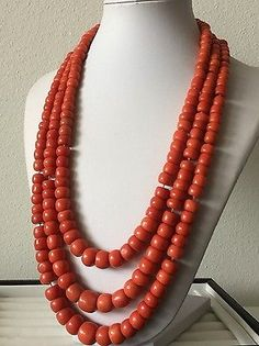 247.5 Gram old natural coral bead coral necklace 750 yellow gold