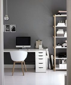 31 White Home Office Ideas To Make Your Life Easier; home office idea;Home Office Organization Tips; chic home office. Home Office Space, Office Workspace, Home Office Design, Home Office Decor, House Design, Home Decor, Office Ideas, Office Designs, Desk Space