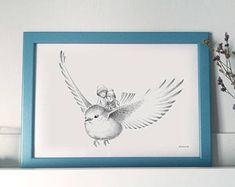 Lámina ilustrada A4 - Ilustración Infantil de Fantasía - Niños y Pájaro