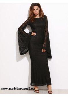 Spitzen Kleid mit Dolmanaermel in Schwarz