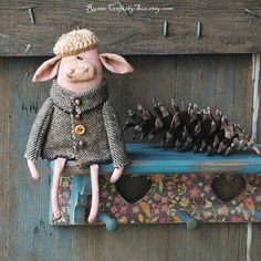 Hey, I found this really awesome Etsy listing at https://www.etsy.com/listing/264307554/primitive-pig-primitive-rag-doll-spring