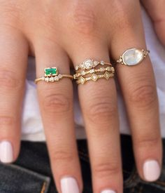 18k Emerald Diamond Arch Ring - Audry Rose
