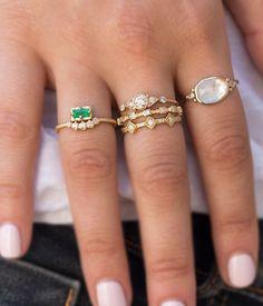 18k Emerald Diamond Arch Ring - Audry Rose