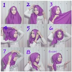 easy way to wear hijab with gown.Hijab style step by step tutorials. Turban Hijab, Hijab Dress, Hijab Outfit, Muslim Dress, Simple Hijab Tutorial, Hijab Style Tutorial, Scarf Tutorial, Stylish Hijab, Hijab Chic