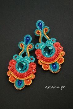 Liked on Pinterest: Kolczyki Multi (sutasz-soutache) - ArtAnnyR - Kolczyki długie