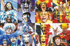 阿根廷球迷化身「藍白軍團」,為國家隊加油。(法新社)