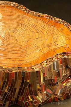 Cedar Stump (detail) | Kate Jessup 2009 Glass, wood Detail of 'Cedar Stump', the first of a series of 2 mosaic stumps. This piece is on long-term loan and displayed at the Museum of Stained Glass at the Navy Pier in Chicago, IL.