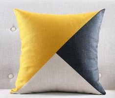 Yellow and Grey Geometric Cotton Linen Cushion Cover - 05