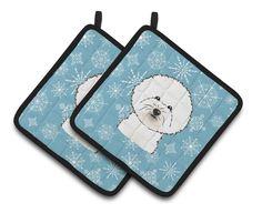 Snowflake Bichon Frise Pair of Pot Holders BB1651PTHD