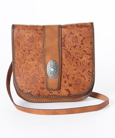 Another great find on #zulily! Tan Floral Saddle Leather Crossbody Bag by I Love Accessories #zulilyfinds