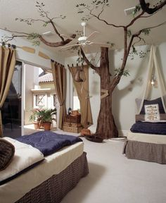 20 Amazing Bedroom Designs You'll Hunger For Tropical Bedroom Furniture Forest Bedroom, Tree Bedroom, Magical Bedroom, Cat Bedroom, Fantasy Bedroom, Tropical Bedrooms, Teenage Room, Mediterranean Decor, Mediterranean Architecture