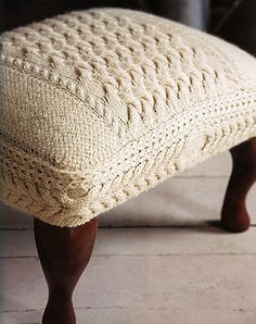 Cabled Footstool by Ruth Cross Published in Knits at Home: Rustic Designs for the Modern Nest ~ however why not give this a try if you like it..... likely that measurements would have to be adapted for one's own furniture anyway