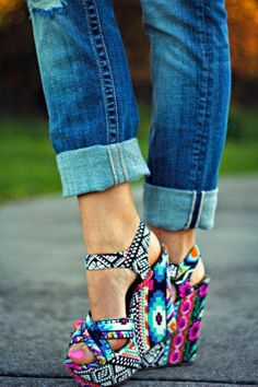 Cute colourful print wedges