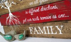 Like branches on a tree, we all grow in different directions.. Yet our roots remain as one.. FAMILY  What an amazing sign to have in your home honouring your family or gift to someone you love. Its perfect for christmas, a new family, a house warming gift or anniversary gift The purchase of this listing is for one reclaimed wood sign with the following specifications:  Measurements: 17 x 24 inches Stain: Dark walnut Lettering: Ivory white paint Stripe: Red Quote: Like branches on a tree, we…