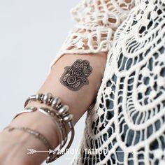 Boho Tattoo fatima hamsa Hand Pattern Tattoo by ArrowTattoo